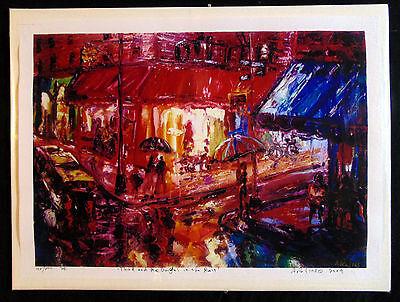 ORIGINAL PRINTArthur Robins Oil Painting NYC CITYSCAPE rain cars night PIZZA NR