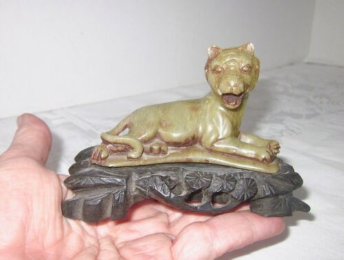 """Antique Stone Tiger Hand Carved with Beautiful Original Base 3 3/4"""" L"""