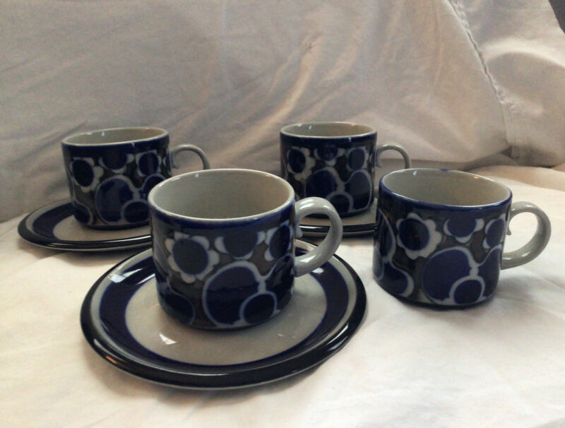 3 Vintage ARABIA Finland SAARA Blue Cups and Saucers + Extra Cup