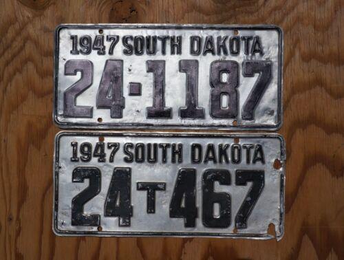 1947 South Dakota License Plate - LOT OF 2