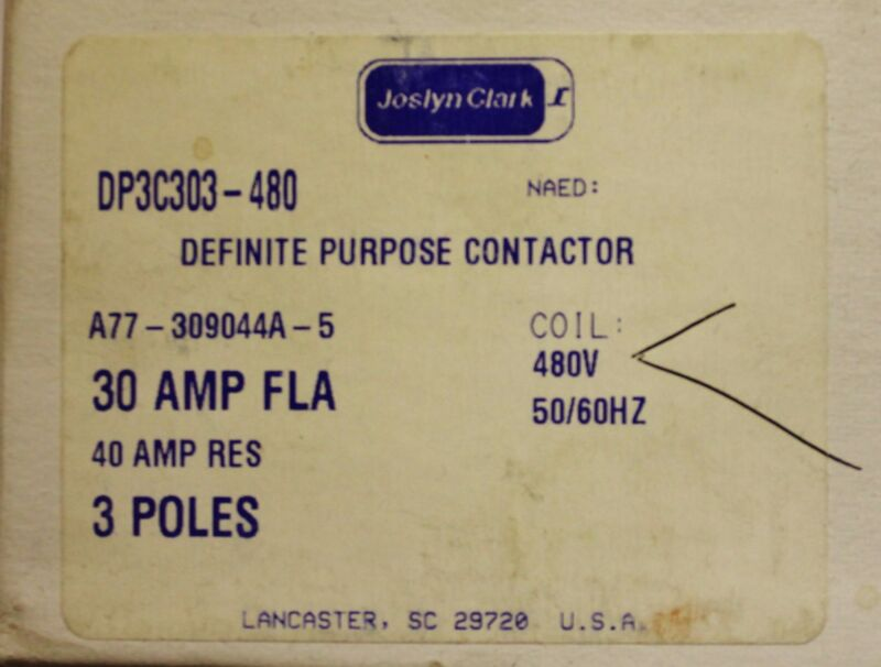 SYLVANIA JOSLYN CLARK DP3C303 480 DP Contactor 3 Pole 30 Amp 480V A77 309044A 5