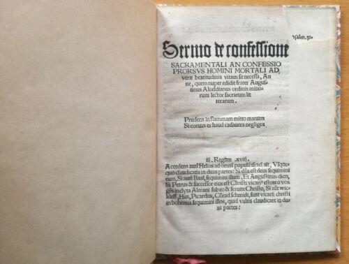 A. Alveld Post Incunable Sermo de confessione Leipzig 1520