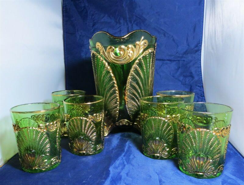 Amazing Green Glass & Gilt Highly Ornate Detailed Lemonade / Water Pitcher Set