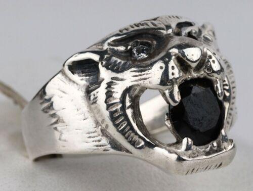 Ring STERLING Silver 875 Tiger LION Animal GIFT Brutal JEWELRY Ukraine 5.35g Art