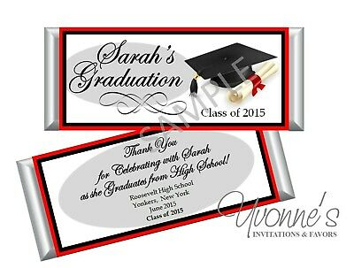 College Graduation Party Favors (Graduation Red Candy Bar Wrappers/ Party Favors - High School/College - Set)
