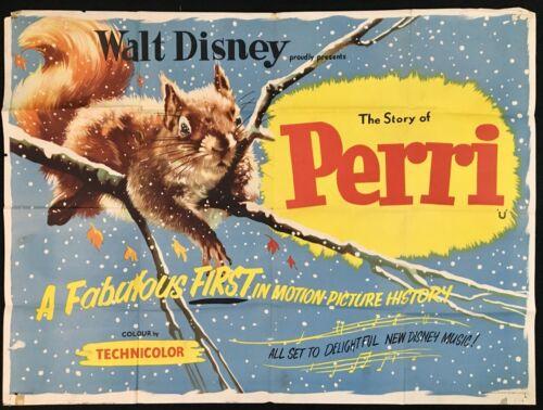 Story Perri ORIGINAL Quad Movie Poster Walt Disney 1957 VERY RARE