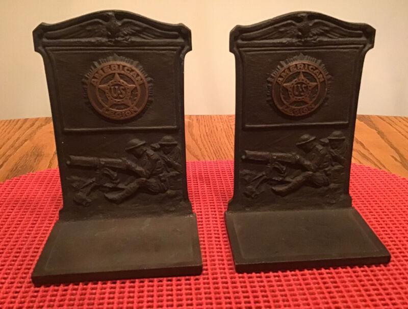 Pr Antique AMERICAN LEGION Bronze Bookends WWI Machine Gunners Doughboys & Eagle