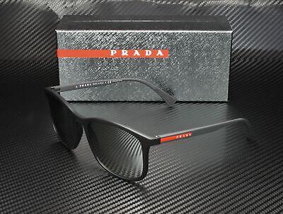 PRADA LINEA ROSSA PS 01TS DG02B0 Black Rubber Lt Grey Silver Men's Sunglasses