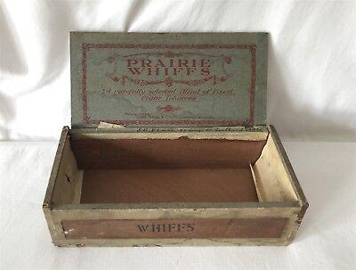 Vintage Art Deco 1920s Wooden PRAIRIE WHIFFS Cigar Box 6x9.5x20cm Approx