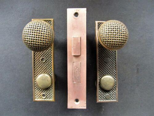 1887 Antique Russell & Erwin Bronze Door Knob & Backplate Set w/ Mortise Lock