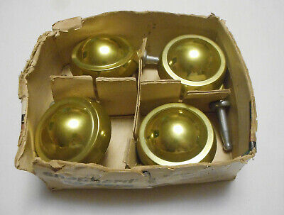 Set 4 Vintage Shepherd 2 12 Planet Ball Caster Wheels Brass Color Finish Retro