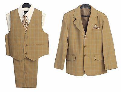 Boys suits Formal Dress Camel Plaid Toddler Kids Graduation Wedding Vest Suit S