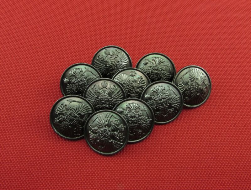Russian Military Imperial Double-Headed Eagle Metal Buttons, 10 Pieces