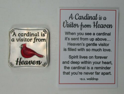 zzL A CARDINAL IS A VISITOR FROM HEAVEN pocket token charm bereavement sympathy