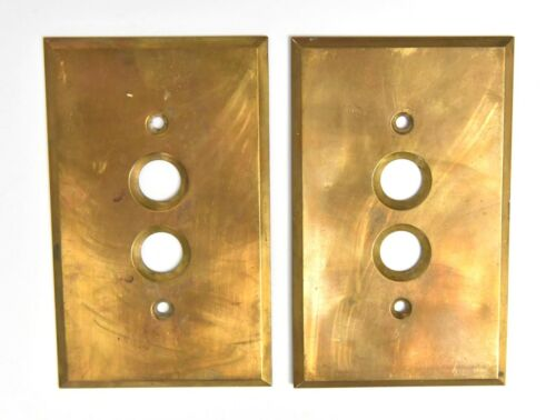 2 VINTAGE THICK BRASS SINGLE PUSH BUTTON SWITCH COVER FACE PLATE  HOME DECOR