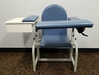 Deluxe Cbdc11220s Slate Blue Medical Blood Draw Chair With Flip Arm And Drawer