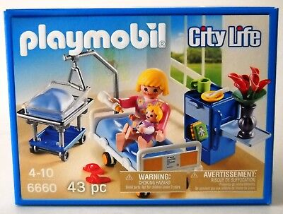 Playmobil 6660~Hospital Maternity Room~City Life~Mother Baby Bed Bassinet NISB
