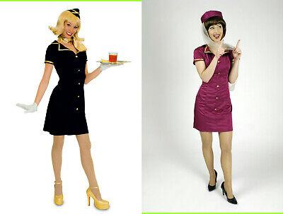 niform Hostess Flugbegleiterin blau oder magenta Karneval (Magenta Kostüm)