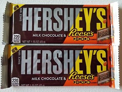 (NEW TWO HERSHEY'S FILLED WITH REESE'S PIECES MILK CHOCOLATE CANDY BAR 1.55 OZ)