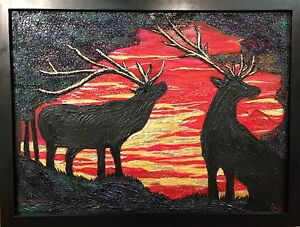 Original art, deer, moose, elk, sunset