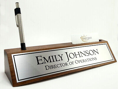 Desk Name Plate Card Pen Holder Walnut Wood With Silver Aluminum Color Plate