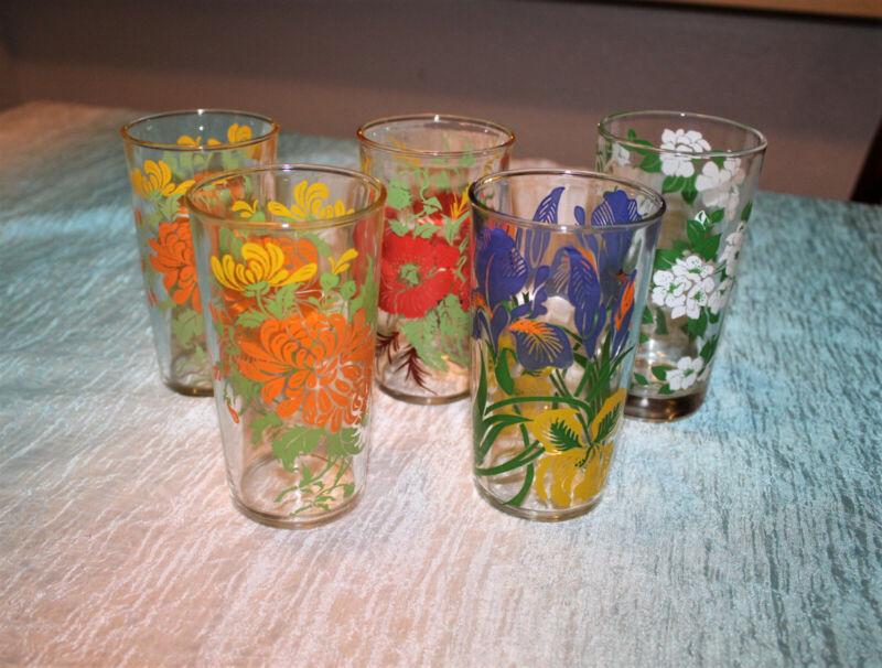 Vintage Set of 5 Swanky Swigs 5 inch Juice Glasses Perfect Purple Iris Red Poppy