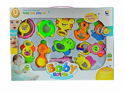 10 pcs Baby Rattle and Teether Easy Grip, Baby Toy Baby Activity Toys 3 Months +