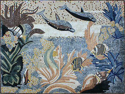 Art Tile Stone Floral Decor Sea World Sea Creatures Marble Mosaic -