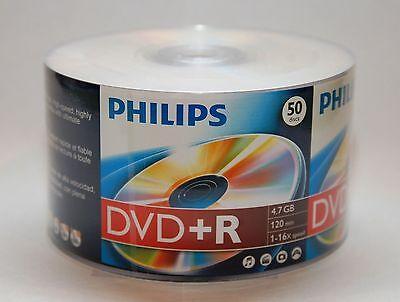 50 PHILIPS Blank DVD+R Plus R Logo Branded 16X 4.7GB Media Disc