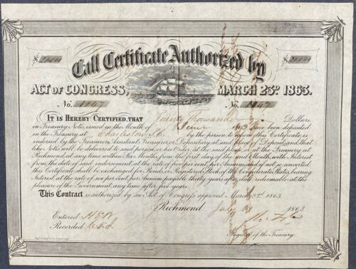 $20,000 Confederate States Call Certificate – Criswell 135, Ball 275