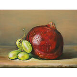 Original Oil Painting Still Life Fine Art Green Grapes And Pomegranate 6x8 Tatin