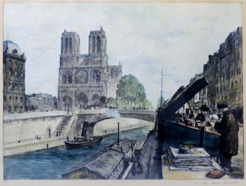 WILLIAM ADOLPHE LAMBRECHT (FRANCE 1876-1940) BOOKSTALLS, PARIS SIGNED AQUATINT