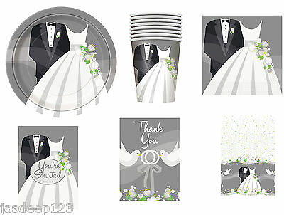 Silver Wedding Bride and Groom Party Tableware Decorations Plates Napkins Cups (Wedding Plates Cups And Napkins)