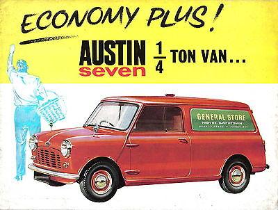 Austin Mini ¼ Ton Van Original UK Sales Brochure Pub. No. 1937/A circa 1961