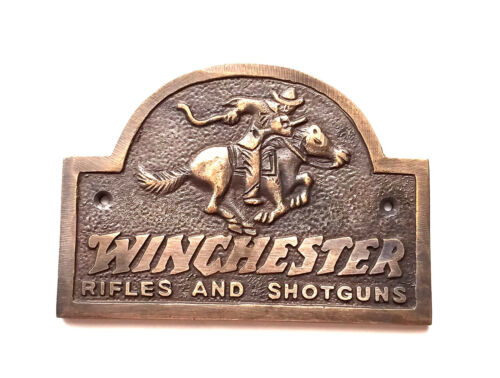 Winchester Rider Solid Brass Plaque