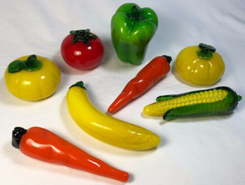 Set Of 8 Vintage Murano Style Hand Blown Glass Fruit & Vegetables EXCELLENT