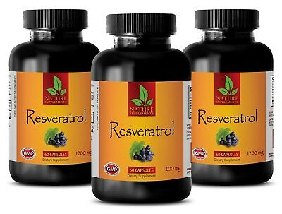 Brain Booster Resveratrol 1200 Mg Normal Blood Pressure 3 Bottles 180 Capsules
