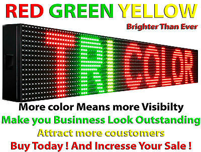 Tri Color 6 X 38 Outdoor Scrolling Text Programmable Led Sign Business Board