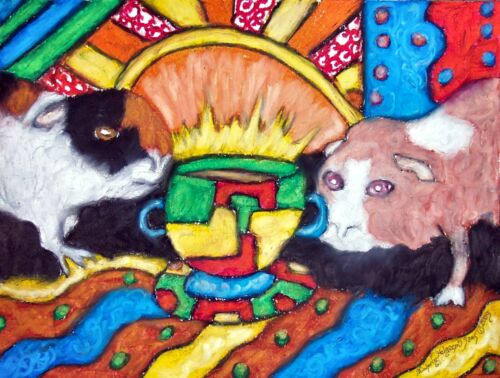 Guinea Pig Drinking Coffee Art Print 8x10 Small Pet Collectible Signed by Artist