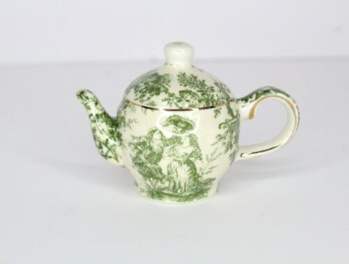 Vtg Teapot Christmas Ornament Small Green French Toile Pattern Gold Accents