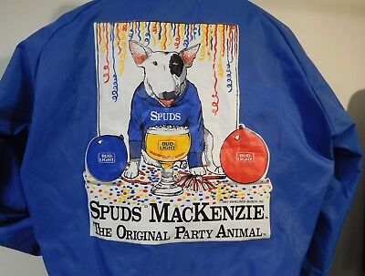 BUD LIGHT 1987 SPUDS MACKENZIE VINTAGE THE ORIGINAL PARTY ANIMAL JACKET BLUE S