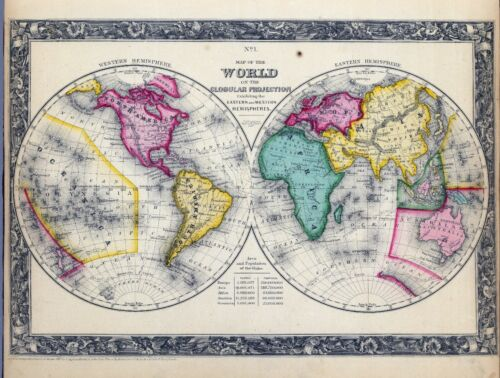 1860 ornate map of the WORLD S. Augustus Mitchell, Jr. POSTER 0565001