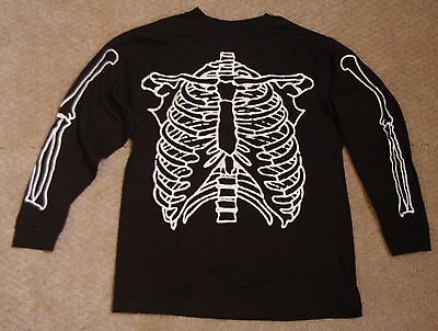 Halloween Skeleton Glow in the Dark L/S Tee Shirt Old Navy Sz  XS to XL - Dark Black Teens