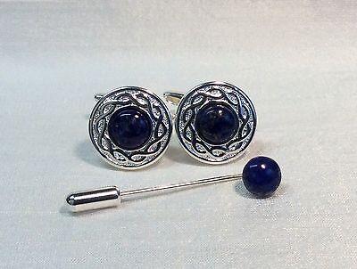 Cufflinks with LAPIS LAZULI Stone and matching Cravat/Tie Pin, Silver -