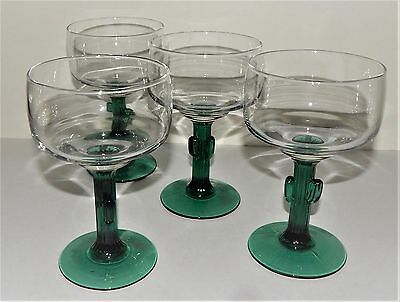 4 Margarita Glasses Cactus Style 12 Oz Libbey Fundamentals Cozumel Green Stemmed