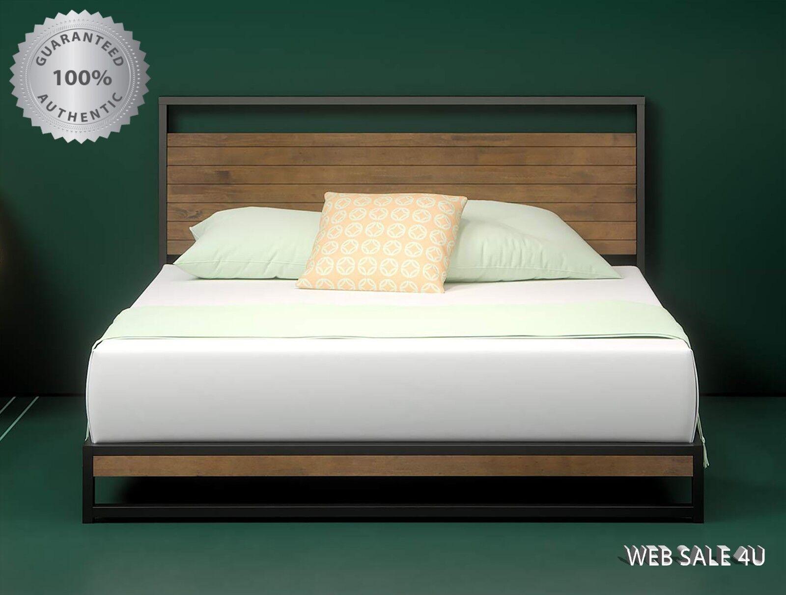 Bed Frame KING Wood Pine Headboard Metal Platform Studio Mod