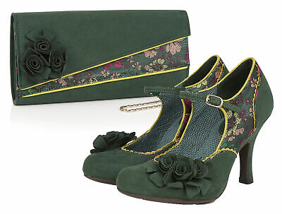 Ruby Shoo Ashley Shoes & Matching Banbury Bag Sz 3- 9 Forest Green Mary Jane