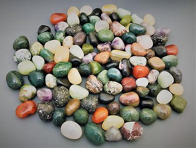 1 KG TROMMELSTEINE-Edelsteine+Mineralien+I+NATUR+BUNT+M/S