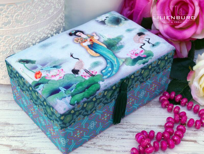 Schmuckkasten Schmuckkästchen Schmuckkoffer Schmuckschatulle rosa Mädchen Kinder Geisha Blau