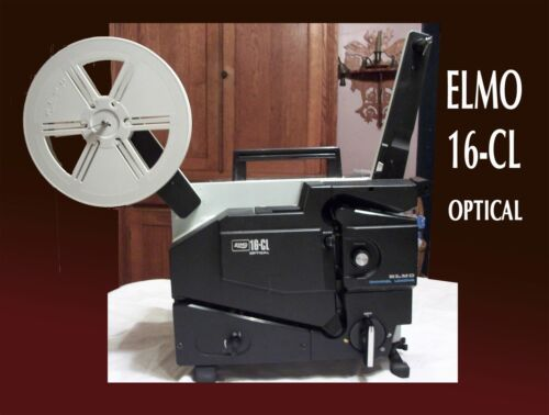 ELMO 16-CL 16mm Optical Sound & Silent projector with Extra Lamps and reel.